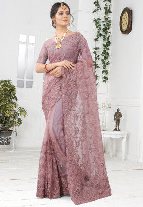 Embroidered Net Scalloped Saree in Old Rose