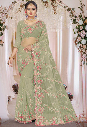 Embroidered Net Scalloped Saree in Pastel Green