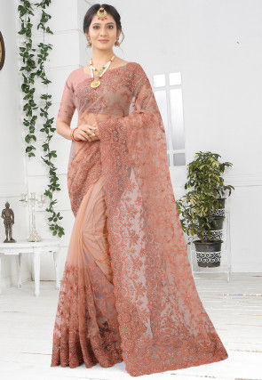 Embroidered Net Scalloped Saree in Peach