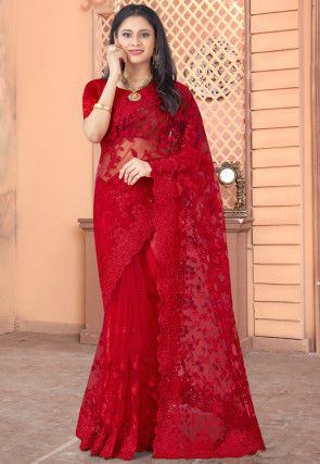 Embroidered Net Scalloped Saree in Red