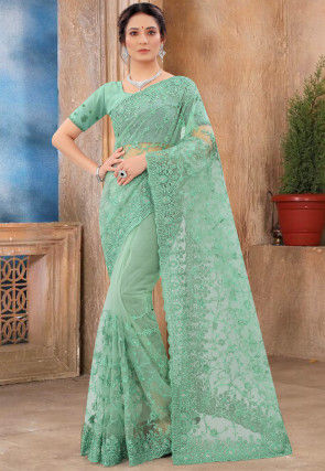Embroidered Net Scalloped Saree in Sea Green