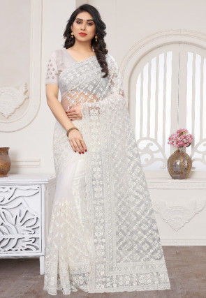 Embroidered Net Scalloped Saree in White