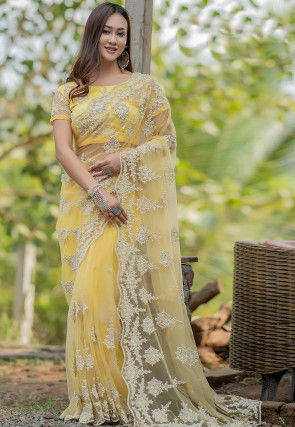 Embroidered Net Scalloped Saree in Yellow