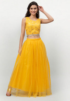 Embroidered Net Scalloped Waistline Crop Top Set in Yellow