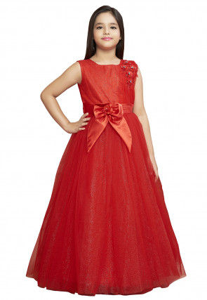 Embroidered Net Shimmer Gown in Red