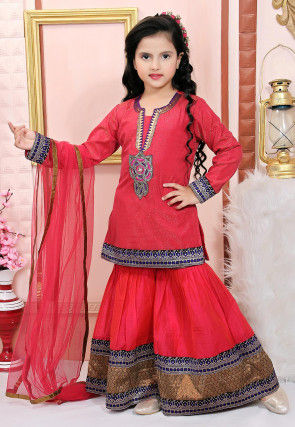 Embroidered Net Shimmer Pakistani Suit in Pink