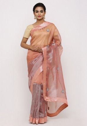 Embroidered Net Shimmer Saree in Peach and Old Rose