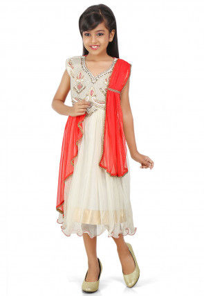 Embroidered Net Silk Dress in Off White and Red