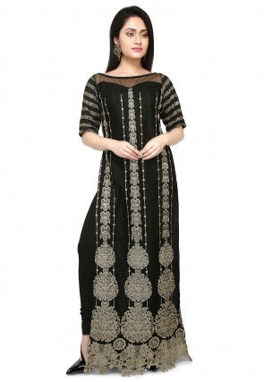 Embroidered Net Straight Kurta in Black