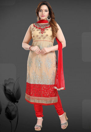 Embroidered Net Straight Suit in Beige