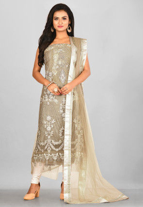 Embroidered Net Straight Suit in Fawn