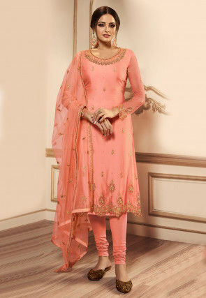 Embroidered Net Straight Suit in Peach