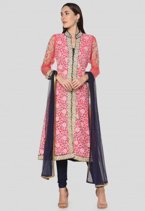 Embroidered Net Straight Suit in Pink
