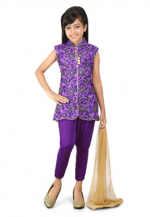 Embroidered Net Straight Suit in Purple
