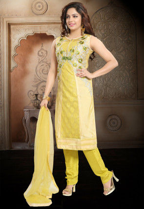 Embroidered Net Straight Suit in Yellow