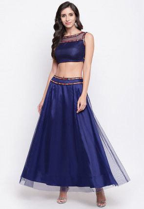 Embroidered Net Top Set in Navy Blue