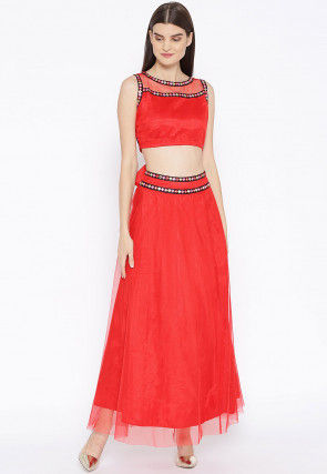 Embroidered Net Top Set in Red