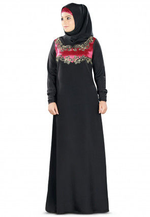 Embroidered Nida Abaya in Black