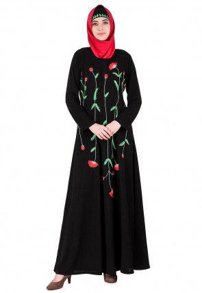 Embroidered Nida Abaya in Black