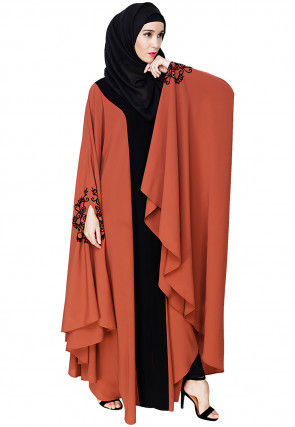 Embroidered Nida Closed Kaftan in Orange and Black