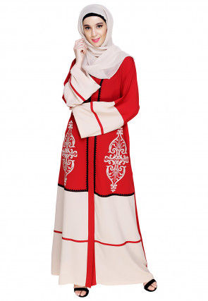 Embroidered Nida Dubai Style Abaya in Red and Light Beige