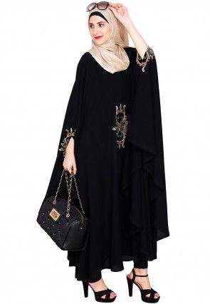Embroidered Nida Flared Batwing Style Kaftan in Black