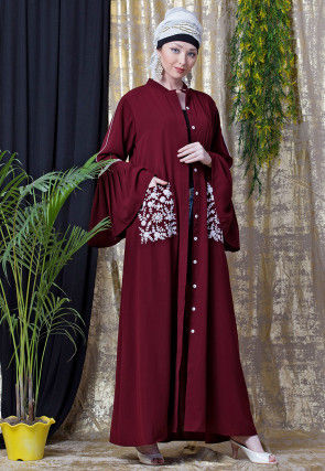Embroidered Nida Front Open Abaya in Maroon