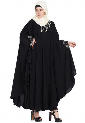 Embroidered Nida Kaftan in Black