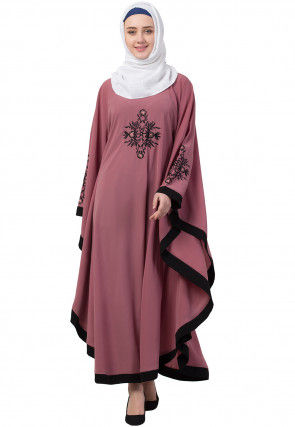 Embroidered Nida Kaftan in Dusty Pink