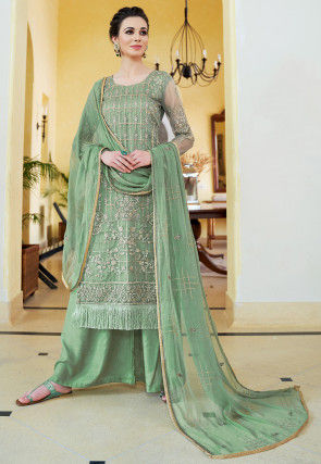 Embroidered Organza Pakistani Suit in Green