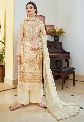 Embroidered Organza Pakistani Suit in Light Beige