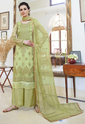 Embroidered Organza Pakistani Suit in Light Green