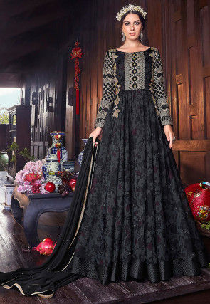 Embroidered Organza Abaya Style Suit in Black