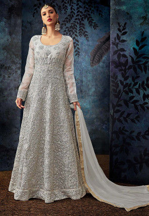 Embroidered Organza Abaya Style Suit in Light Grey