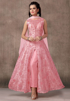 Embroidered Organza Abaya Style Suit in Light Pink