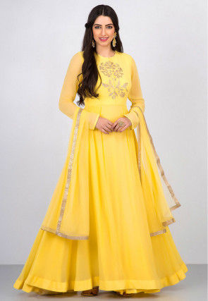 Embroidered Organza Abaya Style Suit in Yellow