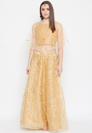 Embroidered Organza Cape Style Crop Top Set in Golden