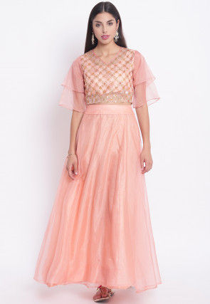 Embroidered Organza Crop Top Set in Peach