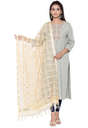 Embroidered Organza Dupatta in Beige