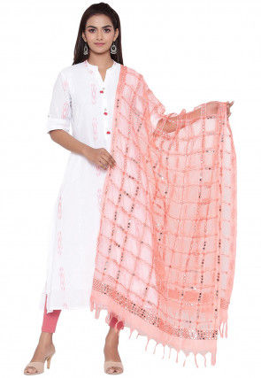 Embroidered Organza Dupatta in Peach