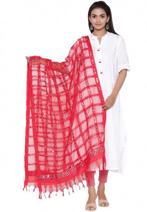 Embroidered Organza Dupatta in Red