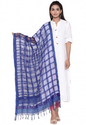 Embroidered Organza Dupatta in Royal Blue