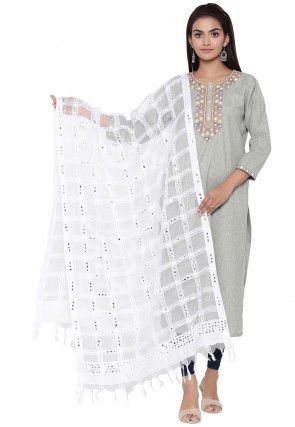 Embroidered Organza Dupatta in White