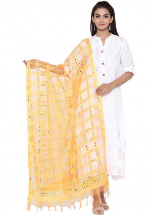 Embroidered Organza Dupatta in Yellow