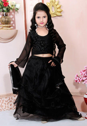 Embroidered Organza Flounced Lehenga in Black