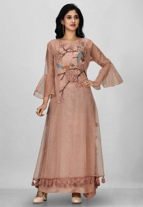 Embroidered Organza Gown in Dusty Old Rose