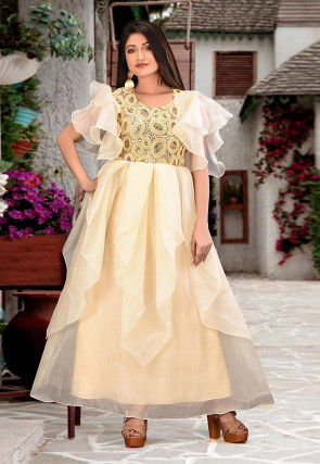 Embroidered Organza Gown in Light Beige