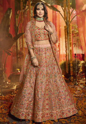 Embroidered Organza Lehenga in Dusty Peach