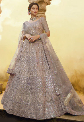 Embroidered Organza Lehenga in Fawn