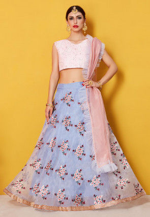 Embroidered Organza Lehenga in Lavender